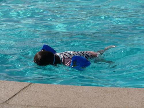 swimming under water.