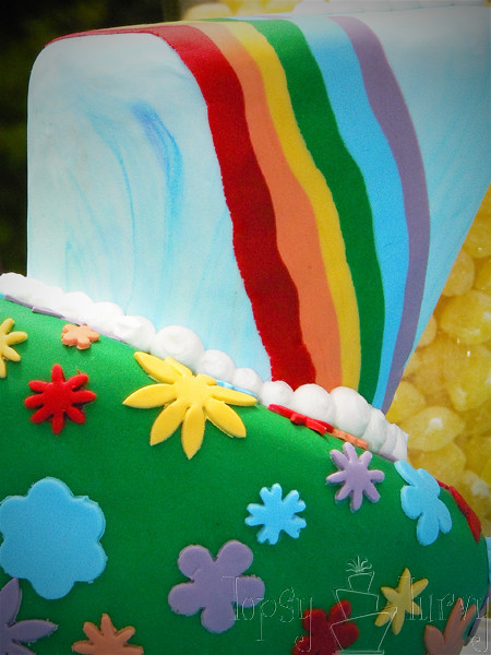 rainbow garden birthday party cake topsy turvy close up