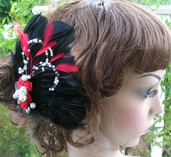 Black and Red Facinator (mairzydozy) Tags: red black feather pearls hairaccessory facinator