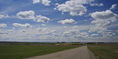 Heading to the Rockies (LesleyON) Tags: road sky mountains landscape alberta backroads canadianrockies sonyh50