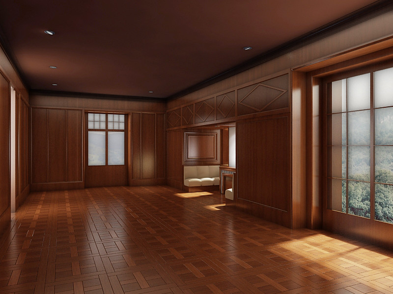 Color, Contrast and Material Study 3: view 1; paint ceiling dark wood colored celing wood panels parquet floor