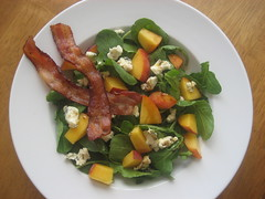 Peach and blue cheese arugula salad