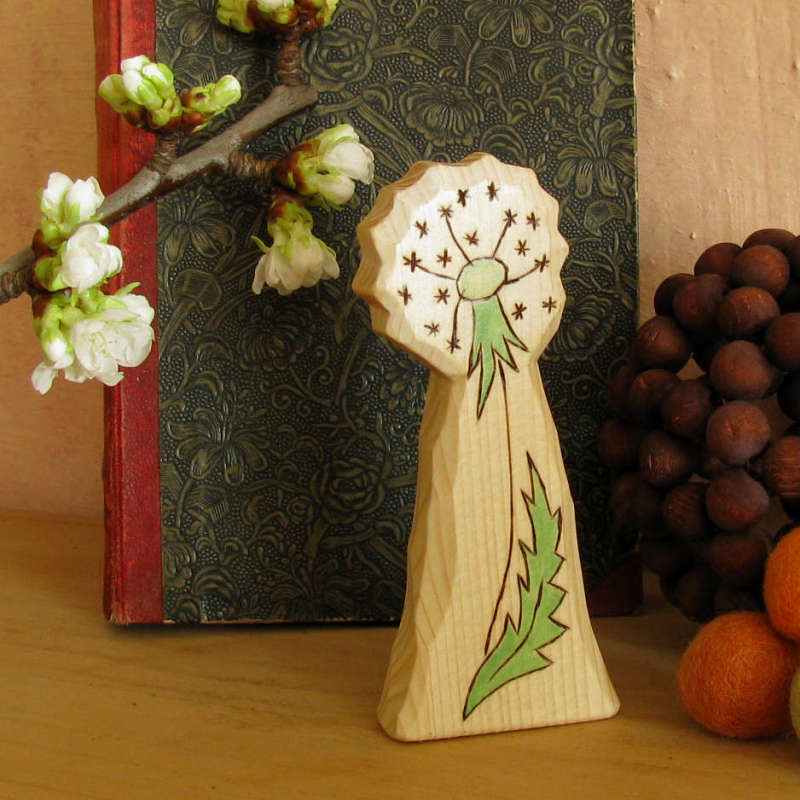 BLOWBALL DANDELION FAIRY - natural toy - carved wooden figure - waldorf inspired