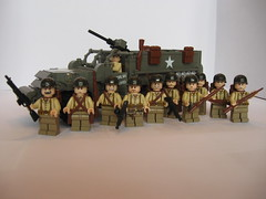 """Hey Ma, me and my buddies with our ride"" (""Rumrunner"") Tags: men infantry army gun lego wwii rifle helmet machine pot american ww2 division m3 armour armored 3rd worldwar2 halftrack allies brickarms"