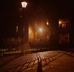 Night Scene Near St Albans Cathedral (Feggy Art) Tags: street camera light art lamp st sepia backlight night canon lens eos rebel back reflex alley nightshot path twin scene alleyway nightscene backlit albans pathway stalbans contre xsi rolleicord joure contrejoure feggy victius feggyart