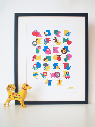 alphabet print in 'gumball' colors