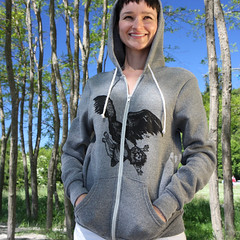 Giant Eagle - Earth-Friendly - Alternative Apparel - 9590 Eco-Heather Zip Hoody (karl_addison) Tags: art love girl animal print hoodie sweater clothing women screenprint warm hand drawing screen cotton soy organic sweatshirt printed sustainable apparel inks based plussize outerwear fabricsustainable