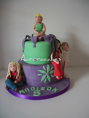 tinkerbell, troy and gabriella and hannah montana cake