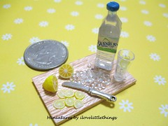 Dollhouse Miniature Iced Water with Lemon (coin)