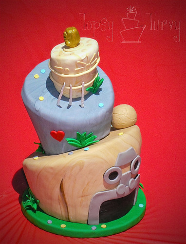 indiana jones birthday cake topsy turvy finished