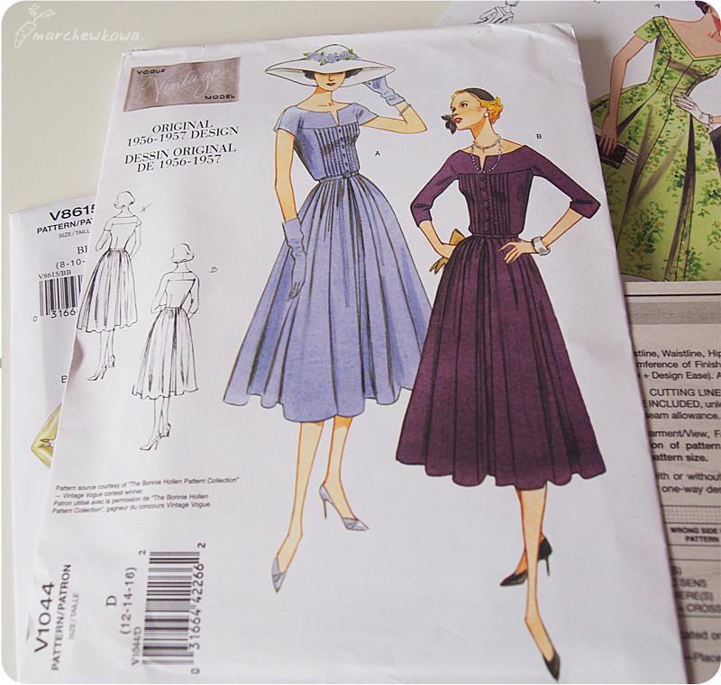 50f1e27c04c105 Vogue patterns, wykroje, lata '50, sukienki, retro, vintage, szycie