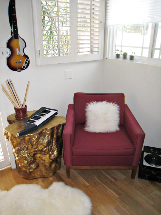 rock band 3 keytar+video game room decor+vintage modern chair+sheepskin+mongolian hair pillows+dj hero+succulents+gold stumps+beatles rock band guitar