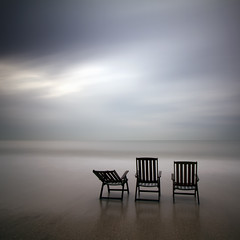 Three Chairs and the Sea (Kees Smans) Tags: longexposure sea holland art beach water netherlands chair chairs scheveningen fineart nederland denhaag northsea nd thehague longtimeexposure southholland tuindorp nd110 keessmans bwnd11010stopfilter 100faveslecolor