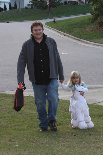 Dave & Catie walking home from the neighborhood Halloween parade