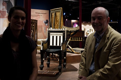 Tutankhamun's Treasures - Robert, Mary-Ann and the little chair (vintagedept) Tags: childhood manchester gold kingtut chair ancient exhibition replica egyptian everyday gilded filming semmel artefact ancientegypt tutankhamun traffordcentre gravegoods kv62 heritagekey robertpartridge museumofmuseums maryanncraig tutankhamunhistombandhistreasures burtial exhibition11067