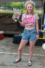 Boobs Rock (Ron Scubadiver's Wild Life) Tags: girl woman candid street style nikon houston texas pride outdoor people denim shorts pink