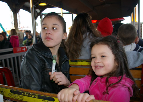 Girls on the Kemah Railroad ride
