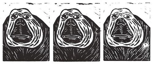 Monkey Portrait Linocut Prints