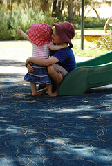 Cuddles on the slide (Some Pretty Things Photography) Tags: park playground kids children fun play nikond70 naturallight australia westernaustralia avalon mandurah nikkor1855mm kaidin
