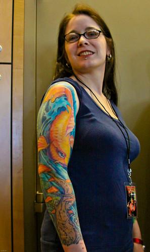 Nice Tattoos Koi Design on Women