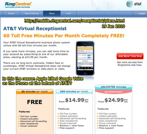 iPhone Virtual Receptionist Plans by RingCentral - The reason Apple killed Google Voice for the iPhone?