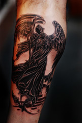 grim reaper (Billy Whaley Tattoo) Tags: new moon white black flower tattoo ink butterfly skull grey star flying wings grim reaper ky name badass leg indiana frog fairy albany billy louisville lettering bats asgard whaley
