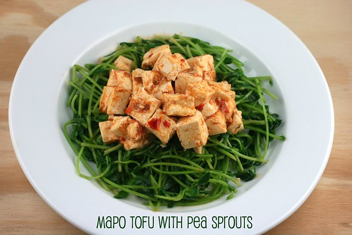 Pea Shoots with Mapo Tofu
