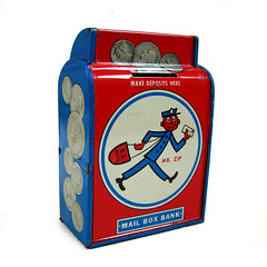 Mr Zip mail box moneybox (Wooden donkey) Tags: money metal vintage tin mail box bank postman