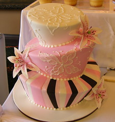 Pink Madhatter (cakestyleTV) Tags: pink wedding brown white cake lily chocolate stripe madhatter topsyturvy