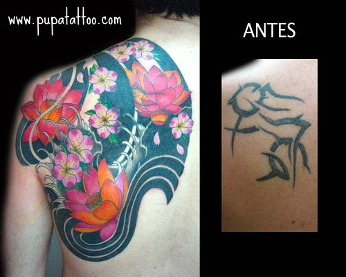 Tatuaje cover up pupa Tattoo Granada