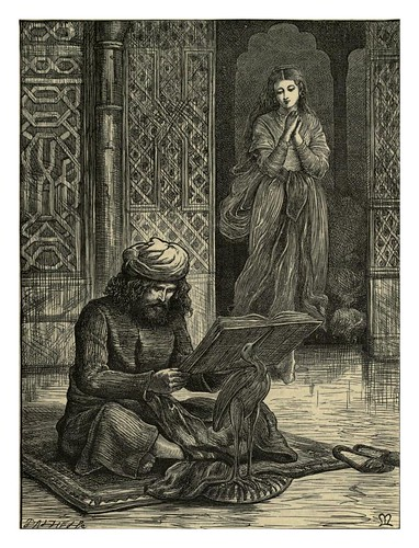001-Zobeida descurbre al joven recitando el Coran-J.E. Millais-Dalziel's Illustrated Arabian nights' entertainments (1865)