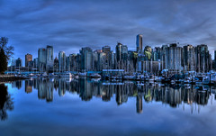 Vancouver Reflected (Brandon Godfrey) Tags: world pictures city blue light wallpaper sky urban canada reflection building water beautiful skyline vancouver clouds photoshop buildings reflections wonderful landscape boats photography photo amazing twilight scenery downtown cityscape bc shot metro photos shots harbour pics earth britishcolumbia sony picture free pic scene canadian shangrila reflected hour pacificnorthwest northamerica metropolis stanleypark unreal van alpha incredible hdr highdynamicrange 2010 outstanding lowermainland a300 backround photomatix tonemapped cs5
