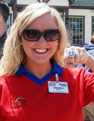 Amanda models one of the Colts' Super Bowl rings.