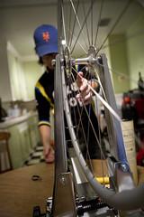 Cooking Up a Wheel (jkoshi) Tags: kitchen bike bicycle wheel bicyclewheel koshi jkoshi wheelbuilding truingstand leecommadennis balvenie12yeardoublewood