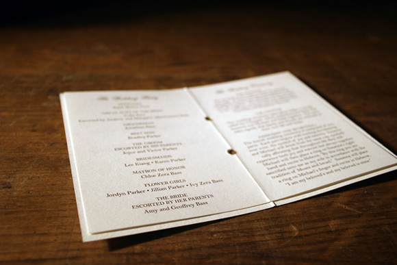 Custom Letterpress Wedding Programs by Smock