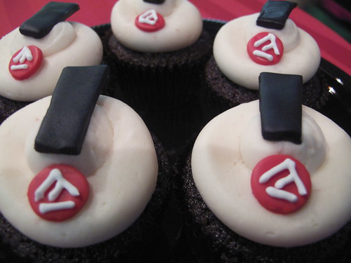 Academy cupcakes (yes, those are exclamation points made out of frosting, the dots of which are the Academy logo).