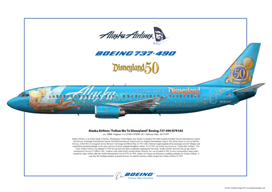 Alaska Airlines - Follow Me To Disneyland -Tinkerbelle Boeing 737-490 N791AS