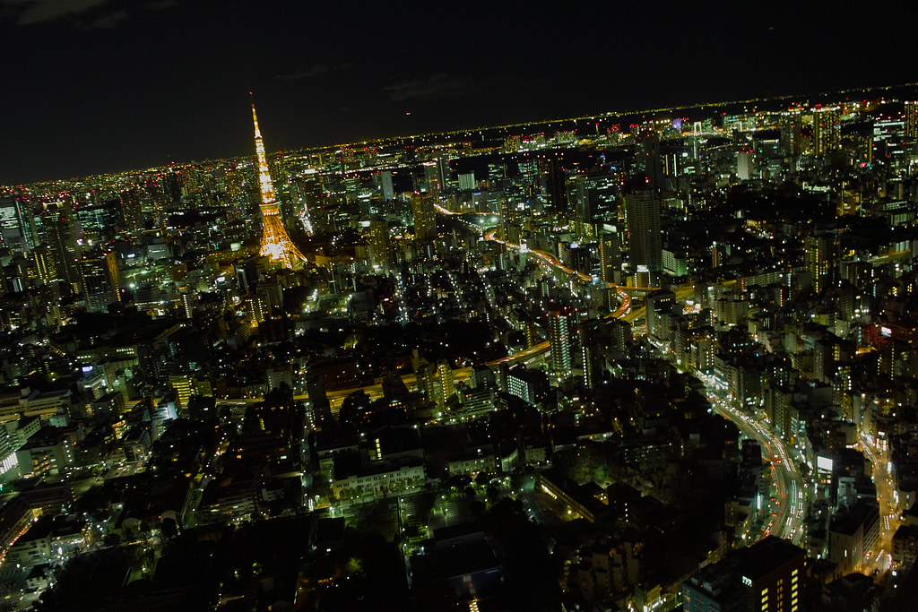 Tokyo Tower Night view from Roppongi Hills 52nd floor