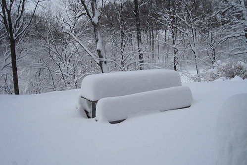 Here is our picnic table covered in snow.