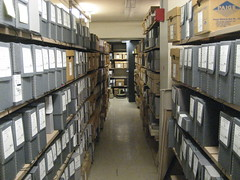 Aisle with archival boxes on both sides