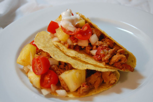 soy curl tacos with grilled pineapple salsa