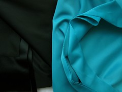 Duoplex Non-Stretch Knit: Black & Turquoise
