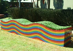 Cubench E with mosaic and lawn (Badec Bros Deco) Tags: colour art architecture modern bench design planters mosaic unique steel powder laser deco bros coated gabions edrich badenhorst badec cubedec