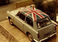 The Union Flag on our Austin A40 Farina, Countryman (ARBaurial) Tags: city vintage austin garden jack jubilee flag union queen 1977 unionjack a40 wgc welwyn farina austina40