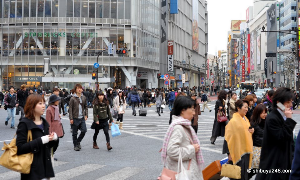 A familiar scene of Starbucks in the background here at the Shibuya Crossing.