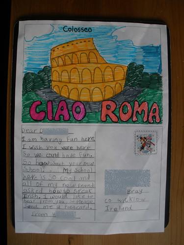 H's homework postcard