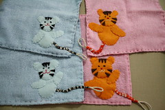 Tiger year hankie (WhimsyLoft) Tags: baby towels etsy