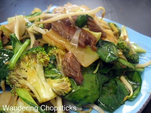 Banh Uot Xao Bo (Vietnamese Wet Rice Noodle Sheet Stir-fry) with Beef, Bok Choy, Broccoli, Bean Sprouts, and Spinach 8