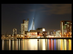 The South bank of Rotterdam (scrabble.) Tags: nightphotography reflections rotterdam kopvanzuid erasmusbrug cityview nachtfotografie reflectie stadsgezicht nieuweluxor zuidereiland