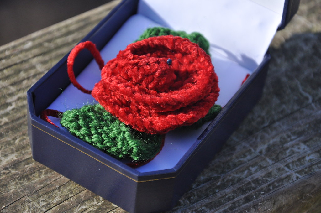 Knitted Rose Pin